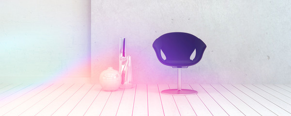 Chair and Vases Inside a Room Illuminated by Light