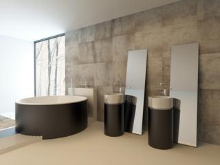 Upmarket modern bathroom interior in brown decor