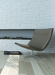 Gray Lounge Chair Near Concrete White Wall