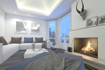 Upmarket living room interior with a blazing fire