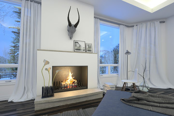 White living room interior with a burning fire