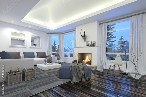 Large spacious modern living room with a fire - 75364240