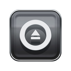 Eject icon glossy grey, isolated on white background