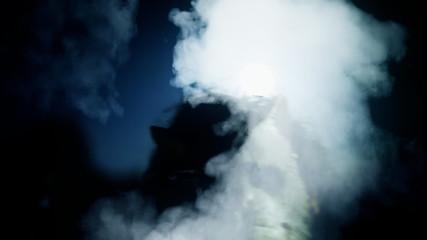 Killer catface knife night moon Halloween smoke