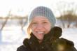 Frau vor Winterlandschaft Portrait