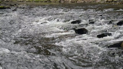 water flows in river over the rocks