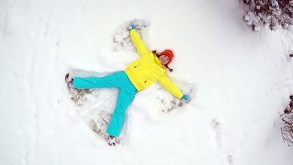 Snow angel slow motion
