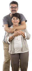 Man with Mustache Hugs Senior Adult Woman