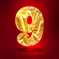 Figure 9, made of shiny golden crumpled foil