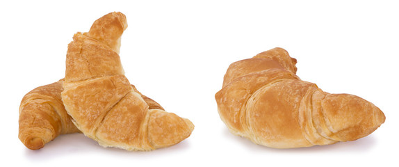 Croissant bread isolated on white background.