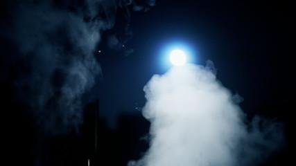 Killer catface knife night moon pitch black smoke