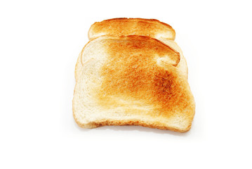 Two Slices of Dry Toast Over White