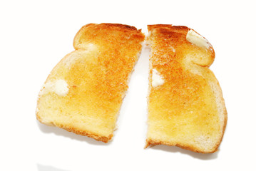 A Slice of Buttered Toast Cut in Half