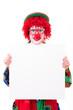 Leinwandbild Motiv witziger clown mit werbeplakat