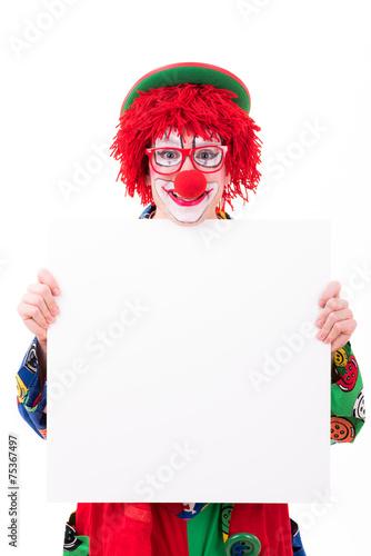 Leinwanddruck Bild witziger clown mit werbeplakat
