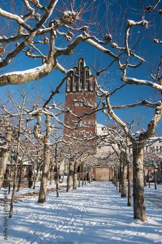 Leinwanddruck Bild Fünf - Finger Turm Mathildenhöhe Darmstadt - Hochzeitsturm