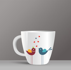 love birds and cup pattern