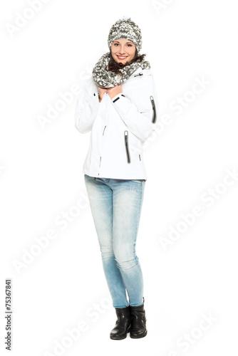 canvas print picture junge frau winterlich gekleidet