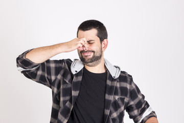 Guy smelling