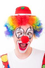 clown macht grimassen