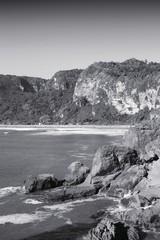 Pancake Rocks, New Zealand. Black and white.