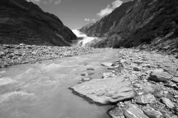 Glacial river in New Zealand. Black and white.