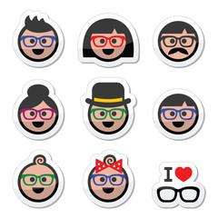 People wearing glasses, geek labels set
