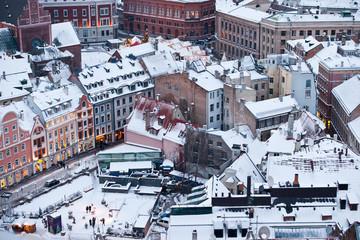 The winter cityscape of the old city of Riga, Latvia