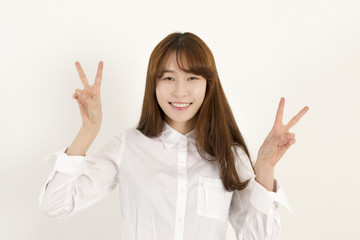 Smiling Young Woman Two Finger Peace Sign Hand Gesture