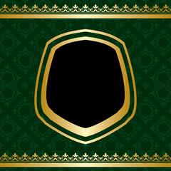 golden ornament on green ornamental background - vector