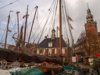 Leer, ancient boats moored in the marina