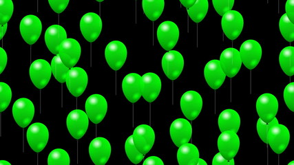 Party green balloons generated seamless loop video with alpha