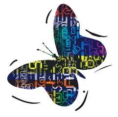 Butterfly with digital numbers