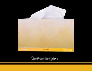 Tissue paper box on black background.
