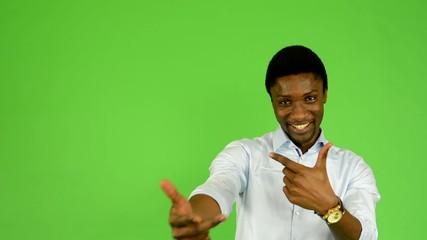 young handsome black man rap - green screen