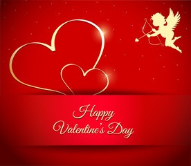 Happy Valentine's Day Red background, vector illustration