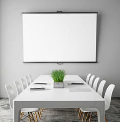 mock up projection screen in meeting room, interior background