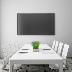 mock up tv screen in meeting room, interior background
