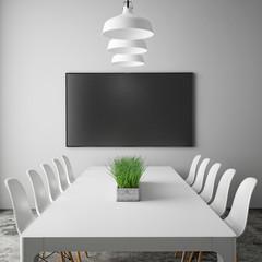 mock up tv screen in meeting room, interior background