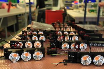 assembly of LED lights shallow depth