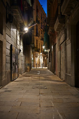 Empty street of Born quarter at night, Barcelona, Spain