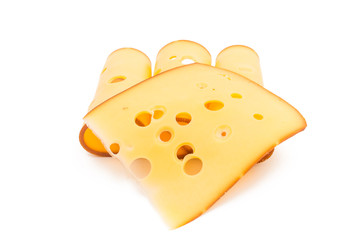 sliced cheese isolated