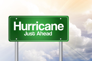 Hurricane Green Road Sign, Business Concept