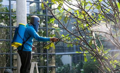 Bangkok,THAILAND - November 29: Man gardener using a sprayer for