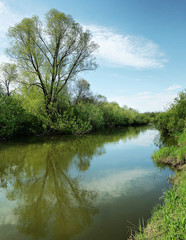 Beautiful summer landscape with calm small river and bright sky