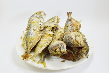 fried mackerels on the dish