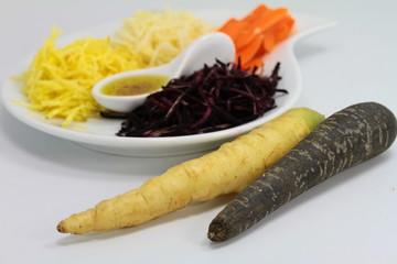 trio de carottes de couleurs