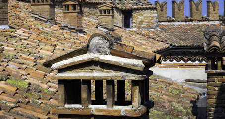Oltrepo Pavese castle roof. Color image