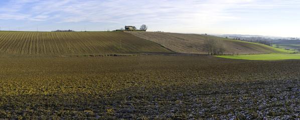 Monferrato hilly region, winter panorama. Color image