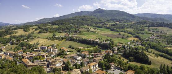 Oltrepo Pavese aerial panorama. Color image